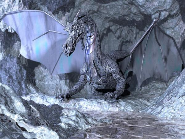 Grey Dragon In Grey Rocks, Dragons