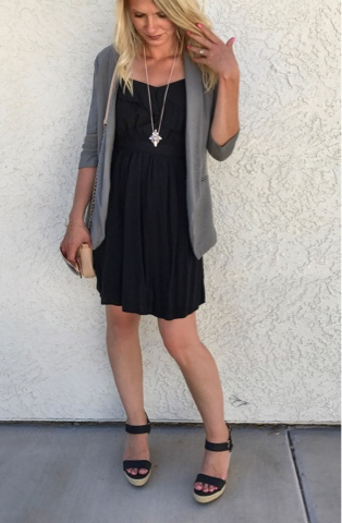 Thrifty Wife, Happy Life- Black ruffled dress with grey blazer, black strapy wedge sandals and blush purse