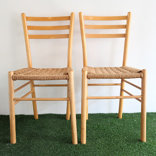 Maple Jute Bottom Chair Pair