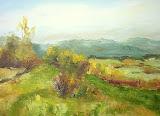 widok na Wielką sowę spod Kiełczyna, olej, płótno, 40x50 cm