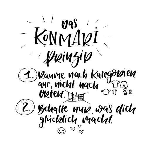 Bei KonMari wird nach Kategorien statt nach Orten entrümpelt. Behalten wird nur, was glücklich macht, der Rest darf weg.