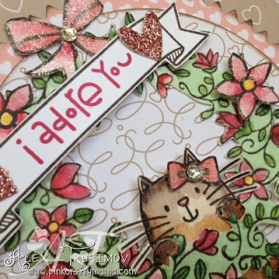 stampin up Stampin' Up! Paper Smooches MFT Derwent Inktense pencils watercolor watercolour cat card cards challenge flowers square die cutting fussy cutting banner hearts love blossoms DSP circle of spring bloomin love stamp set