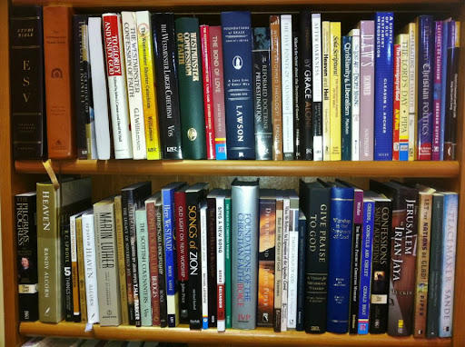"""The RP Bookshelf"" Pastor Brad displayed - FIVE FEET of books on core themes of the Reformed and Presbyterian faith."