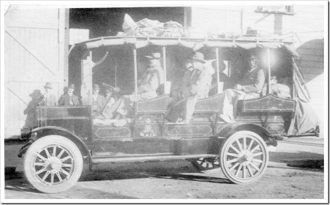 First bus in Dannevirke - TM Mills in front passenger seat