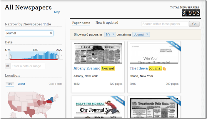 Filter newspapers using controls in left column.