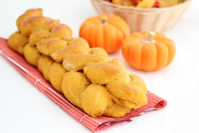 close-up photo of Double Braided Pumpkin Bread