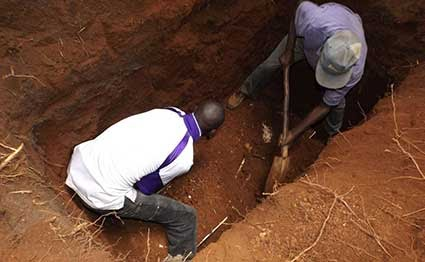 exhumed body as county officials recover uniforms. PHOTO | NMG