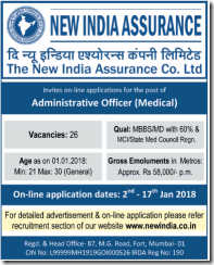 New India Assurance Advertisement 2018 www.indgovtjobs.in