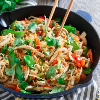 20 Minute Sweet and Spicy Pork Ramen Stir Fry