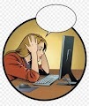Frustated woman sitting in front of computer