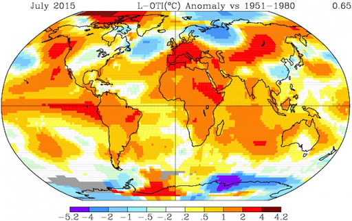 July 2015 temperature anomalies, relative to the 1951-1980 average. Graphic: NASA