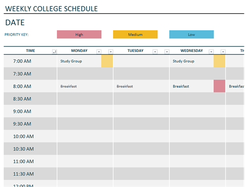 Schedules Office Templates ss2