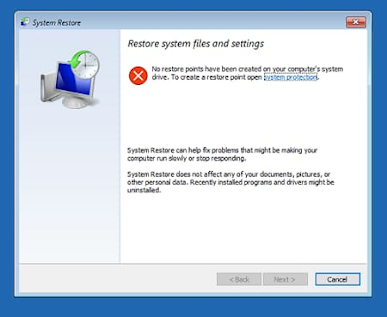 shows you the restore window