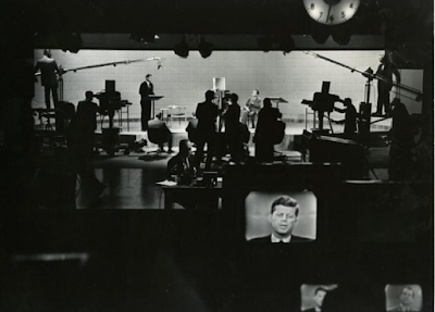 image of John F. Kennedy in on-set monitor at the first-ever televised presidential debate, 1960.