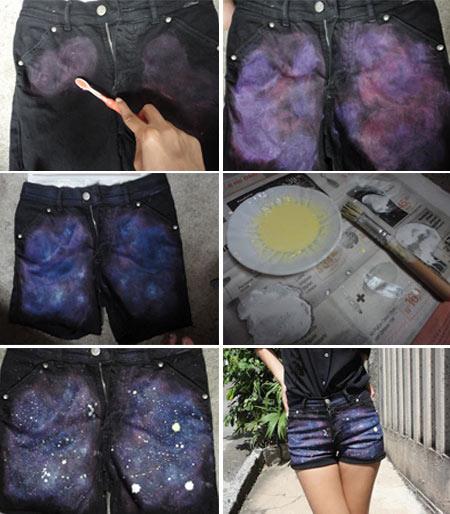 customização de shorts jeans estampa galáxia