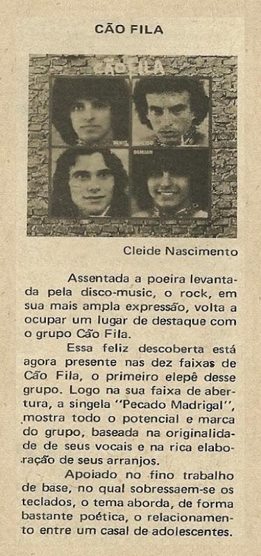 Cão Fila, Primeiro elepê do grupo - Música 1980-03
