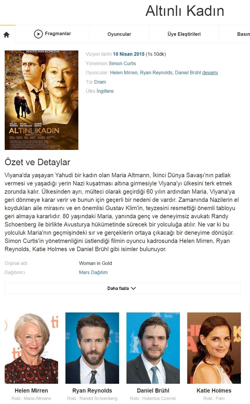 Altınlı Kadın 2015 - 1080p 720p 480p - Türkçe Dublaj Tek Link indir