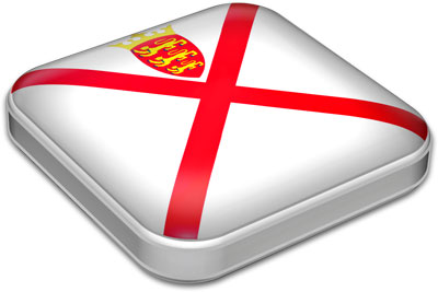 Flag of Jersey with metallic square frame