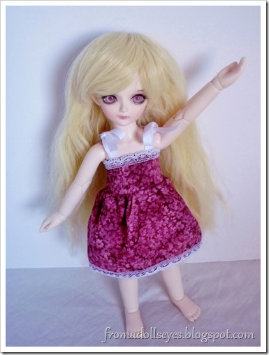 Of Bjd Fashion: Darling Little Sun Dresses: Red violet doll dress for yosd