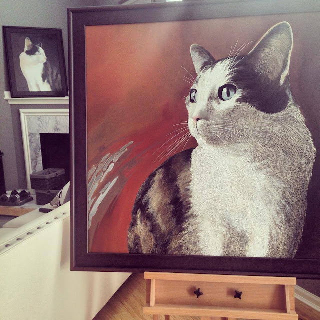 Commissioned two cat paintings.
