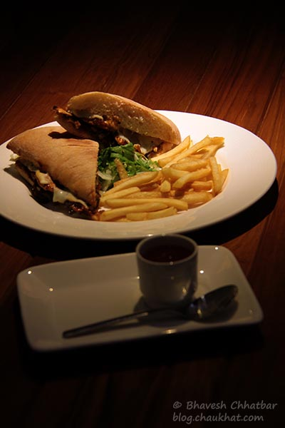 Barbeque Chicken Sandwich with French Fries and Ketchup served at Toss Sports Lounge Koregaon Park