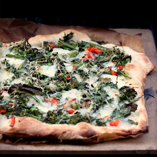 Grilled Pizza with Baby Kale, Broccolini and Chilies