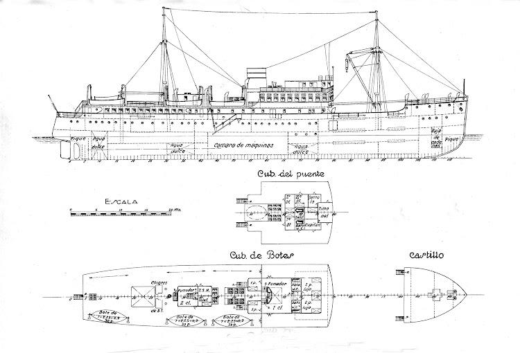 5- Planos de la motonave CIUDAD DE IBIZA. Revista de Ingenieria Naval. Octubre 1932.jpg