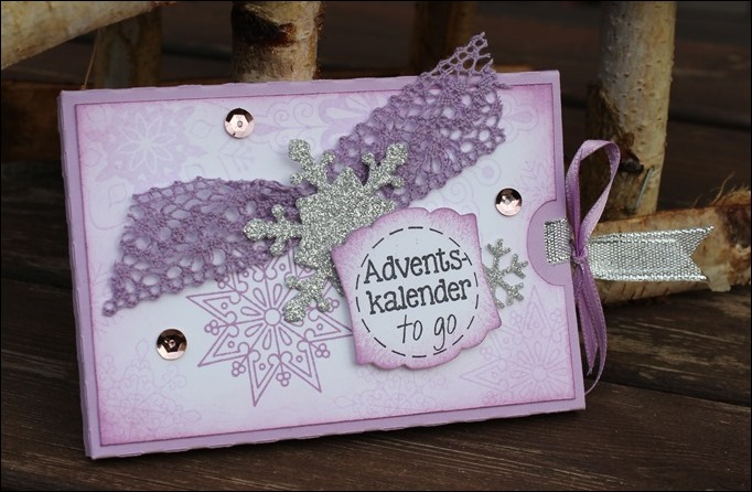 Adventskalender to go Stampin Up Flieder Lilac Snowflakes 00