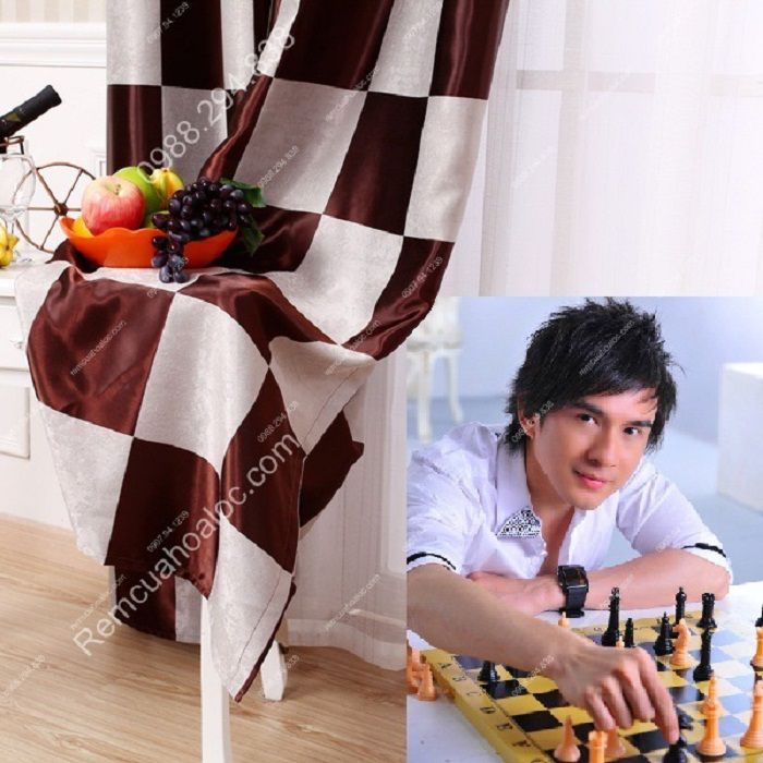Rèm cửa đẹp cao cấp họa tiết bàn cờ 10