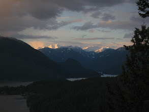 Photo: Snow capped summits of north shore an hour before sunset