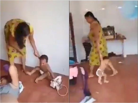 Viral, Video Ibu Ini Siksa Balitanya Sendiri, Diseret Hingga Dipukuli Pakai Rotan Berkali-kali