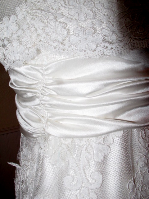Wedding gown update pleated sash tutorial the first sash i made i thought is was tacky looks like a cheap prom dress solutioingenieria Choice Image
