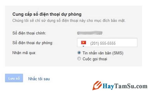 Số điện thoại dự phòng cho Gmail
