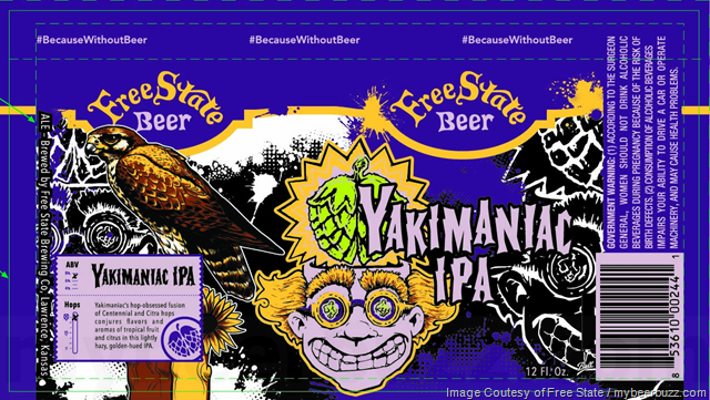 Free State Beer - Yakimaniac IPA 12oz Cans