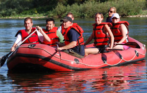 At the Gonzaga program everyone goes on a rafting trip. Here is a photo right before I fell out of the raft while trying to move it to shore. Photo taken on July 7, 2007.