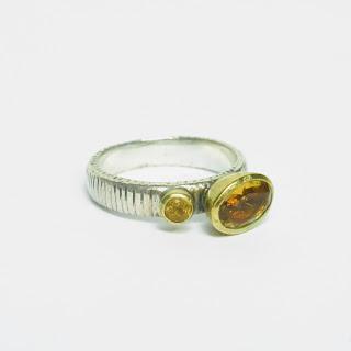 Sterling Silver, Vermeil & Citrine Ring