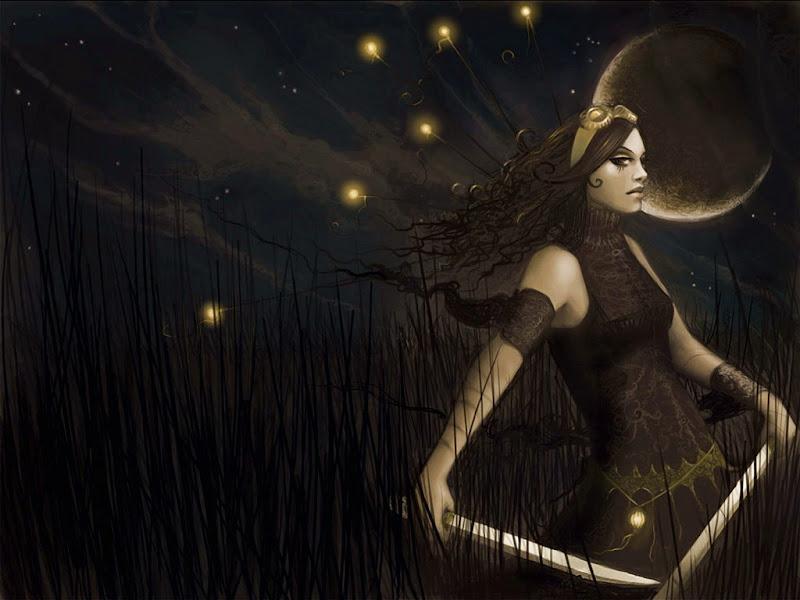 Moon Spell Casting At Night, Moon Magic