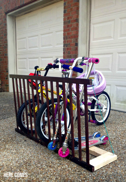 Bike rack from side of crib
