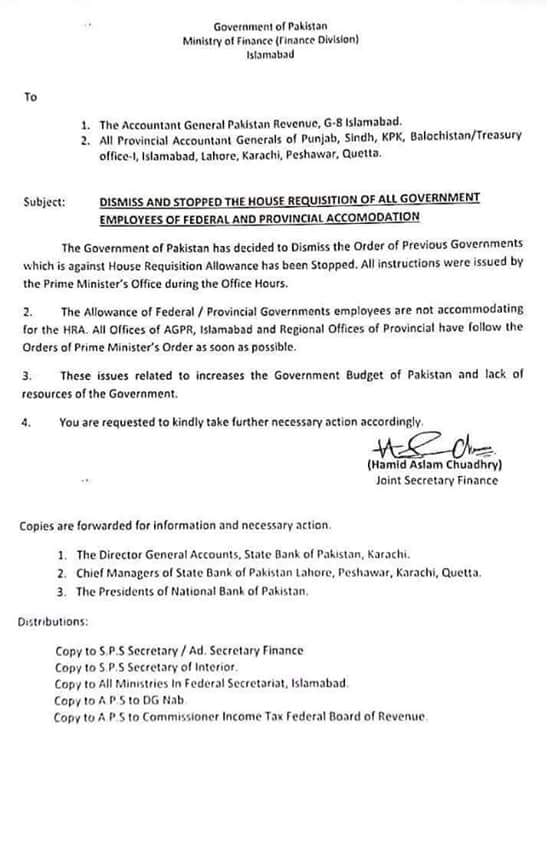 NOTIFICATION REGARDING DISMISSAL AND STOPPAGE OF HOUSE REQUISITION OF ALL GOVERNMENT EMPLOYEES OF FEDERAL AND PROVINCIAL ACCOMMODATION
