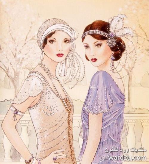 تصميمات ازياء فى لوحات Art Deco style