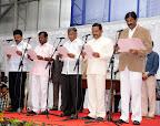 New Ministers Swearing: (L to R) Renukacharya, A. Narayanaswamy, V. Somanna, Krishna J Palemar, BN Bachegowda