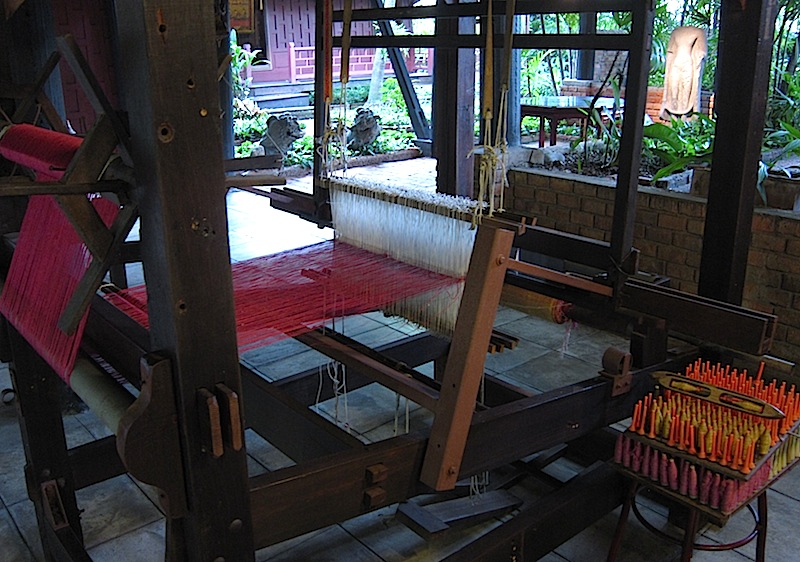 a wooden loom at the Jim Thompson House in Bangkok, Thailand