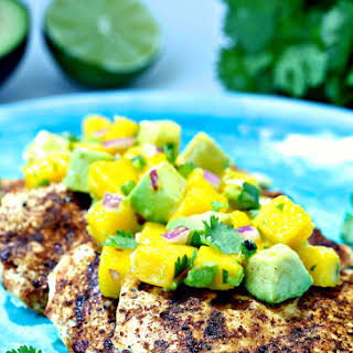 Grilled Spiced Chicken with Mango Avocado Salsa.