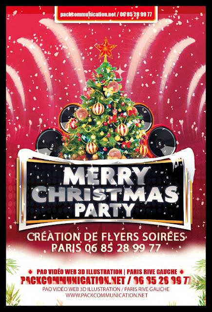 création flyers soirées thème Merry Christmas Party