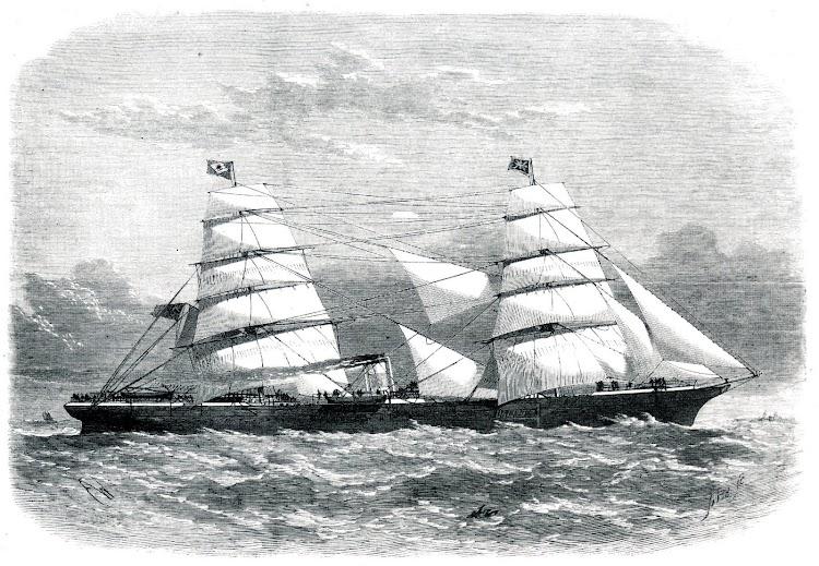 El vapor MANHATTAN en estado de origen. Grabado del libro Ocean Steamers. A history of Ocean-going Passenger Steamships. 1820-1970.jpg