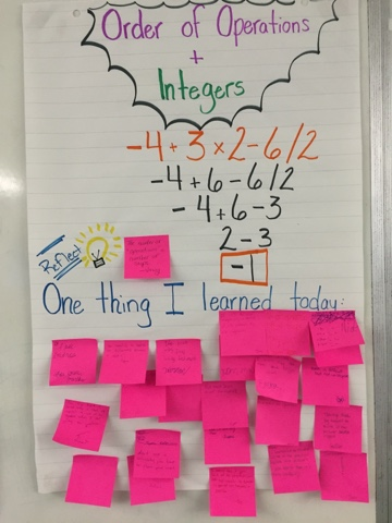 order of operations and integers