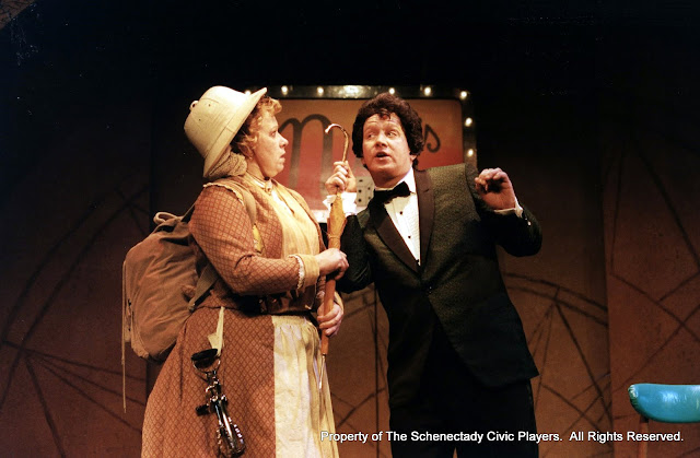 Christine Boice Saplin and Colin McCarty in ON THE VERGE - January/February 2000.  Property of The Schenectady Civic Players Theater Archive.