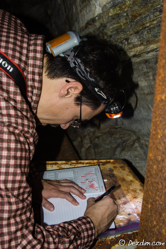 Making the first entry, Guy signs the logbook.