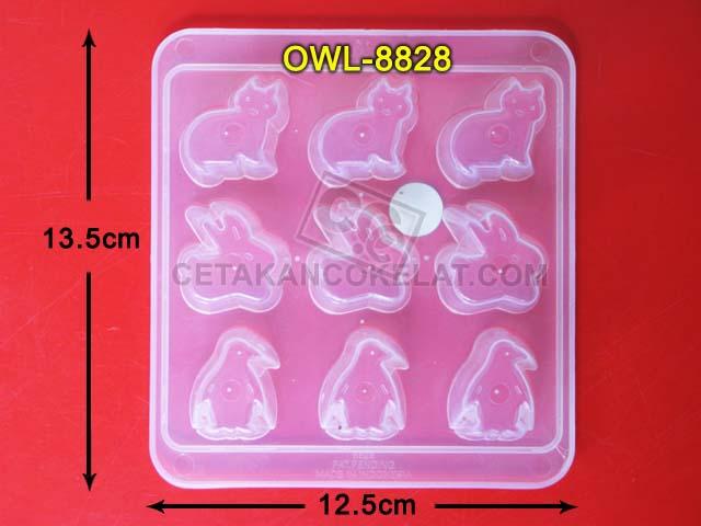 Cetakan Coklat cokelat hewan binatang kucing kelinci penguin OWL8828 owl 8828