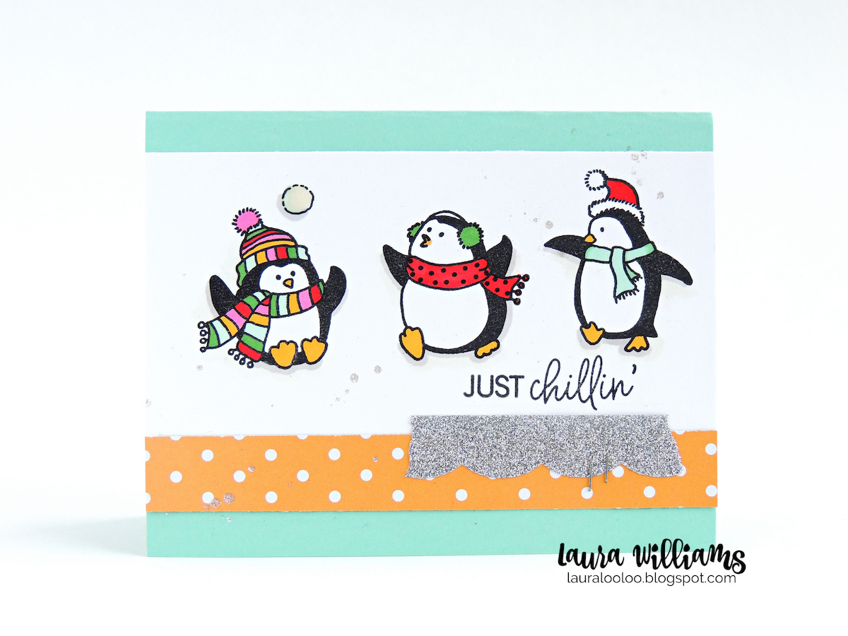 This merry band of stamped penguins is sure to add festive fun to winter card making and Christmas cards. This adorable clear stamp set is part of Impression Obsession's October release and I'm excited to share the holiday goodness with you this week. Are you ready to slide into these  icy cool penguin cards?